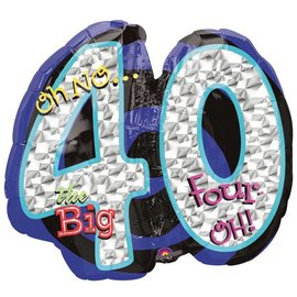 "Foil Balloon - Oh No the Big 40 - 27""x21"""