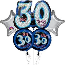 Foil Balloon Bouquet - Oh No the Big 30 - 5 Balloons - 2.2ft