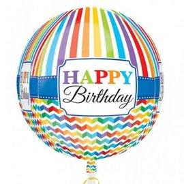 "Foil Balloon Orbz - Happy Birthday Bright Chevron - 15""x16"""