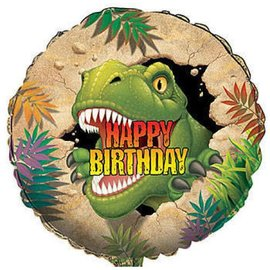 "Foil Balloon - Dino Blast Happy Birthday - 18"""