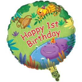 Foil Balloon - Jungle Buddies 1st Birthday - 18""