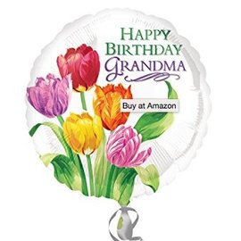 "Foil Balloon - Happy Birthday Grandma Tulips - 18"""