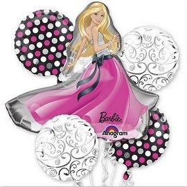 Foil Balloon Bouquet - Barbie Glamour - 5 Balloons - 2.6ft