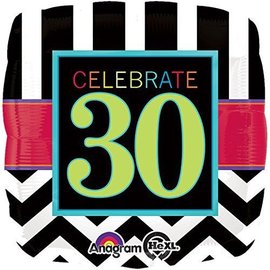 Foil Balloon - Celebrate 30 Chevron - 18""