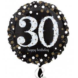 "Foil Balloon - 30th Birthday Sparkle - 18"""