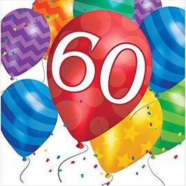 Napkins-LN-60th Balloon Blast-16pk-2ply - Discontinued
