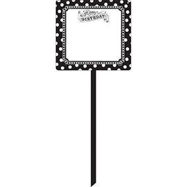"Yard Sign-Plastic-Customizable-Black & White Happy Birthday-1pkg-14""x15"""