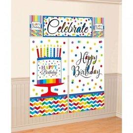 Wall Decorating Kit-Bright Happy Birthday-5pkg-6ft