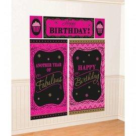 Wall Decorating Kit-Born to be Fabulous Birthday-5pkg-6ft