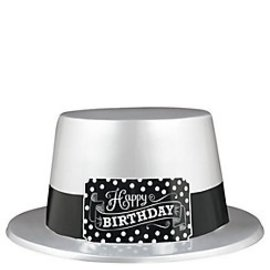 Top Hat-Black & White Happy Birthday-1pkg-Plastic