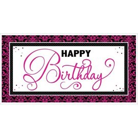 "Banner-Plastic-Fabulous Happy Birthday-1pkg-33.5""x65"""