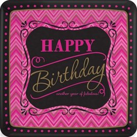 Plates-BEV-Born to be Fabulous Birthday-8pkg-Paper- Discontinued