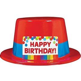 Top Hat-Rainbow Happy Birthday-1pkg-Plastic