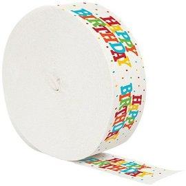 Paper Crepe Streamer-Colorful Happy Birthday-1pkg-30ft