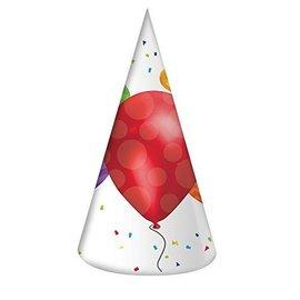 Hats-Cone-Balloon Blast-8pkg-Paper