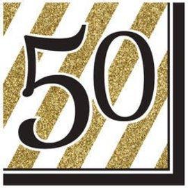 Napkins-LN- Black & Gold 50th-16pk-3ply