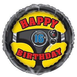 Foil Balloon - Happy 16th Bday - 18''