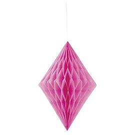 Paper Hanging Decor-Honeycomb Diamond-Hot Pink-14''
