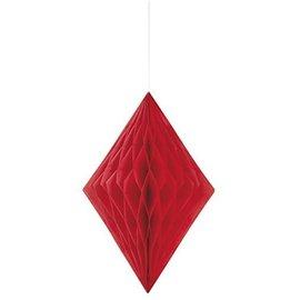 Paper Hanging Decor-Honeycomb Diamond-Red-14''