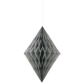 Paper Hanging Decor-Honeycomb Diamond-Silver-14''