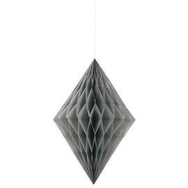Paper Hanging Decor-Honeycomb Diamond-Silver-14''