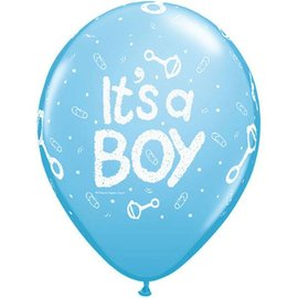 Latex Balloon-It's A Boy Rattle Pale Blue-1pkg-11""