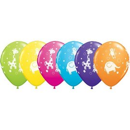 "Latex Balloon-Cute & Cuddly Jungle Animals Assortment-1pkg-11"""