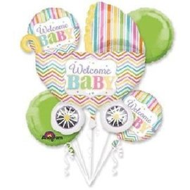 Foil Balloon Bouquet - Welcome Baby Carriage - 5pk