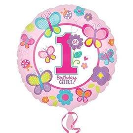"Foil Balloon - 1st Birthday Girl - 18"""