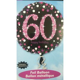 Foil Balloon - Holographic - 60th Happy Birthday - 18""
