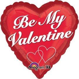 """Foil Balloon - Valentine's Day - Heart - """"Be My Valentine"""" - 18"""""""