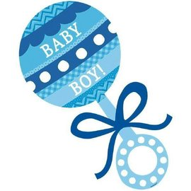 Cutout-Blue Baby Boy Rattle-1pk