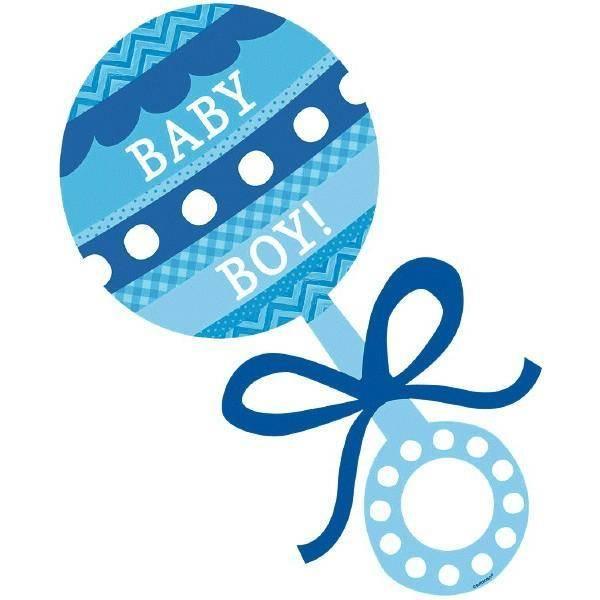 Cutout-Blue Baby Boy Rattle-1pk - Victoria Party Store