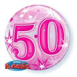 Bubble Balloon - 50th Birthday - 22""