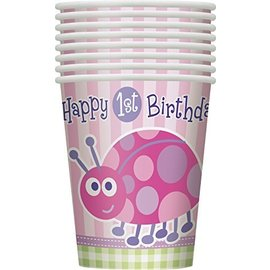Cups - 1st Birthday Ladybug - 8pk - 9oz - Discontinued