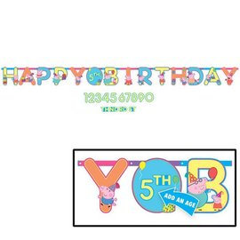 Jumbo Letter Customizable Add an Age Banner - Happy Birthday - Peppa Pig