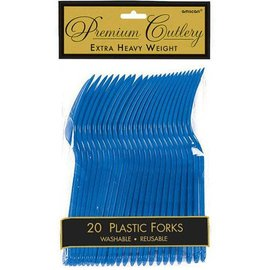 Forks-Heavy Weight- Bright Royal Blue-20pk-Plastic