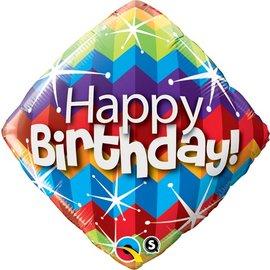 """Foil Balloon-Multicolored Happy Birthday Balloon 18"""""""