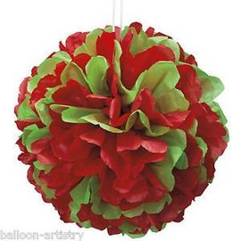 Red and Green Puff Ball 14""