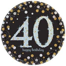 Plates LN-Happy Birthday 40th-8pk-paper