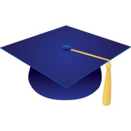 Blue Felt Graduation Caps