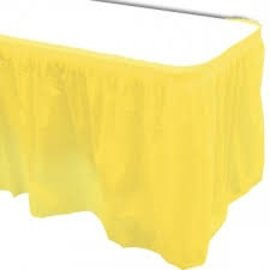 Plastic Table Skirt - Light Yellow 33.9 SQ ft.