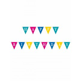 Flag Banner-Confetti Cake Birthday