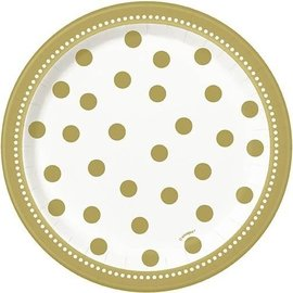 Plates Bev-Golden Birthday-8pk-Paper