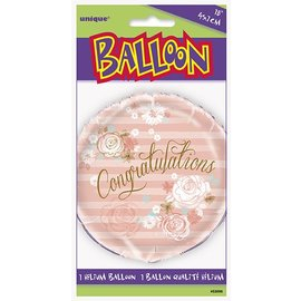 Foil Balloon - Congratulations Pink Flowers - 18""