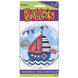 Foil Balloon - 1st Birthday Boat - 18""