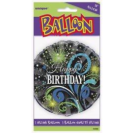 "Foil Balloon - Happy Birthday Fireworks - 18"""
