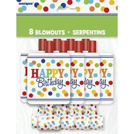 Blowouts-Happy Birthday Rainbow Polka Dots