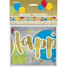 Banner - Gltzy Happy Birthday - 12 FT  (1 PCS)