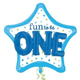 """Foil Balloon - Fun to be One Blue - 36"""""""